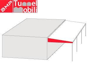 tettoia monofalda sospesa per ampliamento spazi di fianco a strutture esistenti