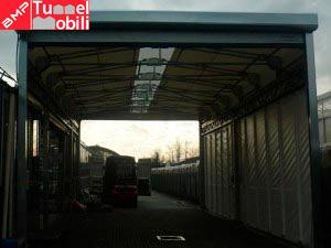 capannone mobile in pvc con porte avvolgibili, installazione BMP Tunnel Mobili