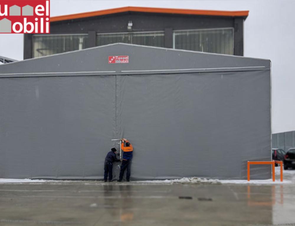 Due capannoni mobili in telo pvc  per Bricoman Italia a Parma (PR)